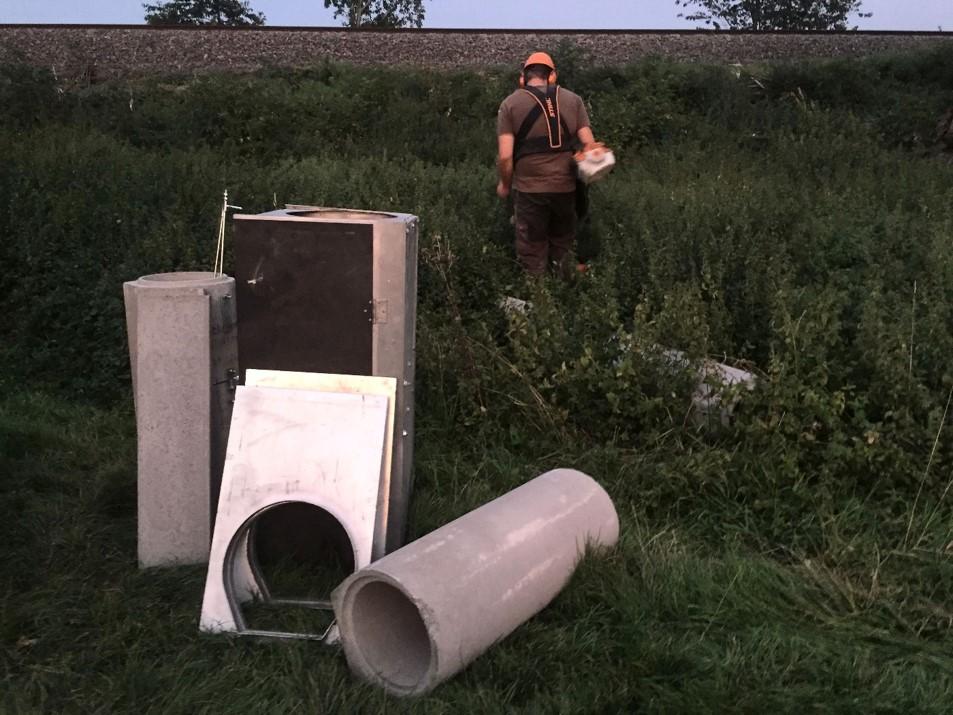 Aufbau einer BetonWippprohrfalle